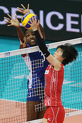 Cuba Alena Rojas Orta and Japan Haruka Miyashita fights for the ball