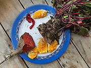 Beetroot for lunch. At the home and field of Manolis Vardakis, in Pyrgos village.
