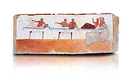 """Greek Fresco on the inside of Tomb of  the Diver  [La Tomba del Truffatore] from the Greek city of Poseidonia which became Roman Paestum. This panel is from one of the long sides of the tomb and shows a symposium of men lying on couches facing low tables.  The men on the couches are playing the song of Eros the liar and the flute to distract the deceased from worldly thoughts so he can enter the next world. The tomb is painted with the true fresco technique and its importance lies in being """"the only example of Greek painting with figured scenes dating from the Orientalizing, Archaic, or Classical periods to survive in its entirety. Paestrum, Andriuolo.  (480-470 BC  ) .<br /> <br /> If you prefer to buy from our ALAMY PHOTO LIBRARY  Collection visit : https://www.alamy.com/portfolio/paul-williams-funkystock - Scroll down and type - Paestum Fresco - into LOWER search box. {TIP - Refine search by adding a background colour as well}.<br /> <br /> Visit our ANCIENT GREEKS PHOTO COLLECTIONS for more photos to download or buy as wall art prints https://funkystock.photoshelter.com/gallery-collection/Ancient-Greeks-Art-Artefacts-Antiquities-Historic-Sites/C00004CnMmq_Xllw"""