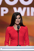 Kerry Woolard, general manager, Trump Winery addresses delegates on the second day of the Republican National Convention July 19, 2016 in Cleveland, Ohio. The delegates formally nominated Donald J. Trump for president after a state by state roll call.
