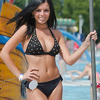 Evelin Szalai attends the Miss Bikini Hungary beauty contest held in Budapest, Hungary on August 06, 2011. ATTILA VOLGYI