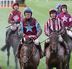 Jockeys and Horses after The Sanctuary Synthetics Flat Race during day one of the Punchestown Festival at Punchestown Racecourse, County Kildare, Ireland.