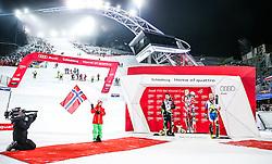26.01.2016, Planai, Schladming, AUT, FIS Weltcup Ski Alpin, Schladming, Slalom, Herren, Siegerehrung, im Bild Marcel Hirscher (AUT, 2. Platz), Sieger Henrik Kristoffersen (NOR) und Alexander Khoroshilov (RUS, 3. Platz) // f.l.t.r: 2nd placed Marcel Hirscher of Austria Winner Henrik Kristoffersen of Norway and 3rd placed Alexander Khoroshilov (RUS) celebrate on Podium during the winner award ceremony of men's Slalom Race of Schladming FIS Ski Alpine World Cup at the Planai in Schladming, Austria on 2016/01/26. EXPA Pictures © 2016, PhotoCredit: EXPA/ Johann Groder