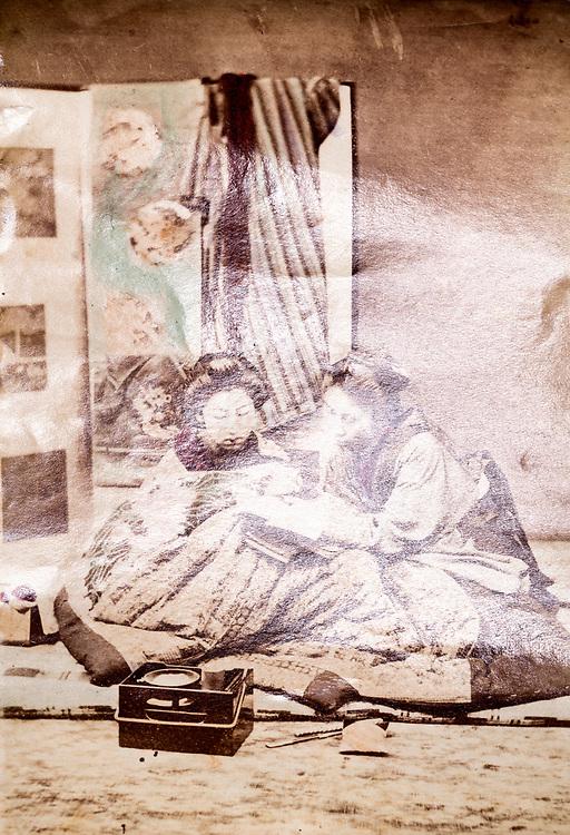 hand colored Geisha scene ca 1880s Japan
