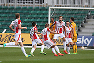 Cele  - Asa Hall of Cheltenham Town (14) celebrates with his teammates after he scores his teams 1st goal.  EFL Skybet football league two match, Newport county v Cheltenham Town at Rodney Parade in Newport, South Wales on Saturday 10th September 2016.<br /> pic by Andrew Orchard, Andrew Orchard sports photography.