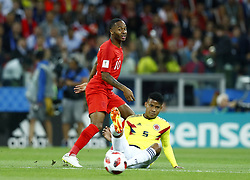 July 3, 2018 - Moscow, Russia - Round of 16 England v Colombia - FIFA World Cup Russia 2018.Raheem Sterling (England) and Wilmar Barrios (Colombia) at Spartak Stadium in Moscow, Russia on July 3, 2018. (Credit Image: © Matteo Ciambelli/NurPhoto via ZUMA Press)