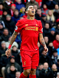 Roberto Firmino of Liverpool looks dejected after missing  a chance - Mandatory by-line: Matt McNulty/JMP - 21/01/2017 - FOOTBALL - Anfield - Liverpool, England - Liverpool v Swansea City - Premier League