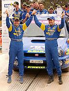Cody Crocker & Greg Foletta .Podium.2003 Rally of Canberra .Canberra, ACT, Australia.27th of April 2003.(C) Joel Strickland Photographics