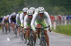 Riders of team Perutnina Ptuj (in front  Gregor Gazvoda of Slovenia (Perutnina Ptuj)) leading the peloton in last 4th stage of the 15th Tour de Slovenie from Celje to Novo mesto (157 km), on June 14,2008, Slovenia. (Photo by Vid Ponikvar / Sportal Images)/ Sportida)