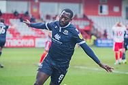 GOAL 1-1 Morecambe midfielder Toumani Diagouraga (8) celebrates his equalising goal during the EFL Sky Bet League 2 match between Stevenage and Morecambe at the Lamex Stadium, Stevenage, England on 6 February 2021.
