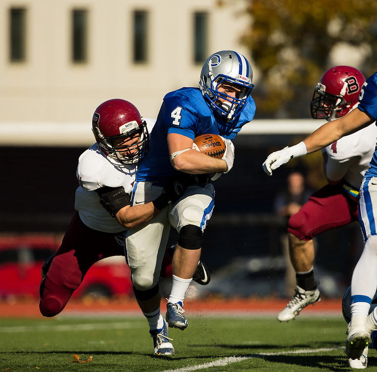 Colby College running back Carl Lipani (4) during a NCAA Division III football game between Colby College and Bates College at Seaverns Field at Harold Alfond Stadium on October 24, 2015 in Waterville, Maine. (Dustin Satloff)