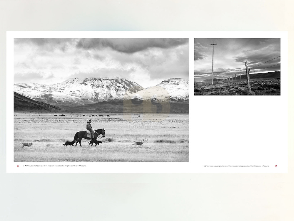 PATAGONIA - IMAGES COLLECTION. The South of the word when the world finished (page 60–61). Best collection from the first book Patagonia, published in October 2014. Published by apspressimage. The author presents a series of images using the digital and analogue camera to tell the story of the daily life in Black and White of southern Patagonia.