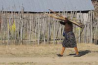 Hard working farmer woman. Lake Prespa National Park, Albania June 2009