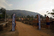 The Tribal resettlement village, Lanjigargh built by Vedanta in return for land. The camp is now largely empty. The Dongria Kondh are a protected 'Scheduled' Caste of Original (aboriginal) people that practice animism and live a settled rural life. Their deity is a mountain from which a mining company, Vedanta is seeking to extract bauxite which will largely destroy the mountain and the Kondh's traditional way of life.