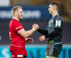 George North of Ospreys shakes hands with Vincent Koch of Saracens after the match <br /> <br /> Photographer Simon King/Replay Images<br /> <br /> European Rugby Champions Cup Round 5 - Ospreys v Saracens - Saturday 11th January 2020 - Liberty Stadium - Swansea<br /> <br /> World Copyright © Replay Images . All rights reserved. info@replayimages.co.uk - http://replayimages.co.uk
