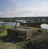 A ship travels along the Manchester Ship Canal at Thelwall en route to the river Mersey and the Irish Sea. The Mersey is a river in north west England which stretches for 70 miles (112 km) from Stockport, Greater Manchester, ending at Liverpool Bay, Merseyside. For centuries, it formed part of the ancient county divide between Lancashire and Cheshire.