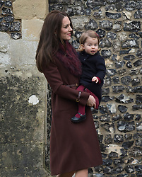 Catherine, Duchess of Cambridge and Princess Charlotte of Cambridge  attend a Christmas Day service at St. Marks Church in Englefield on December 25, 2016.