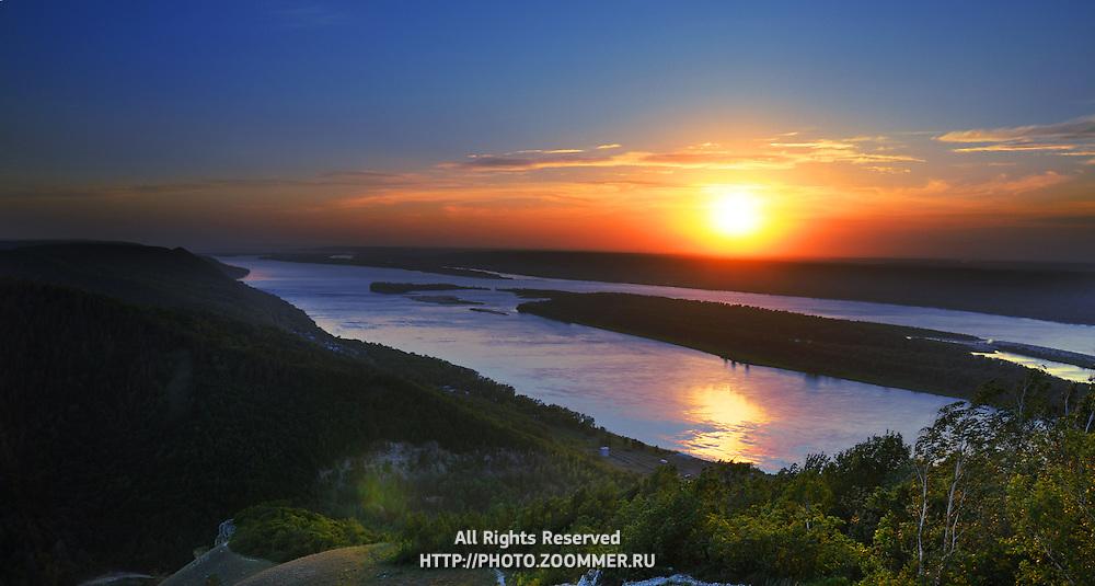 "Sunset over Volga river in Russian National Park ""Samarskaya Luka"""