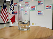 26 NOVEMBER 2019 - KNOXVILLE, IOWA: Senator Elizabeth Warren's water glass on a stool before her campaign event in Knoxville Tuesday. Sen. Warren hosted a community meeting at the Sprint Car Hall of Fame and Museum in Knoxville, IA. She is running to be the Democratic candidate for the US Presidency in the 2020 election. Iowa hosts the first selection event of the presidential election season. The Iowa caucuses are February 3, 2020.                 PHOTO BY JACK KURTZ