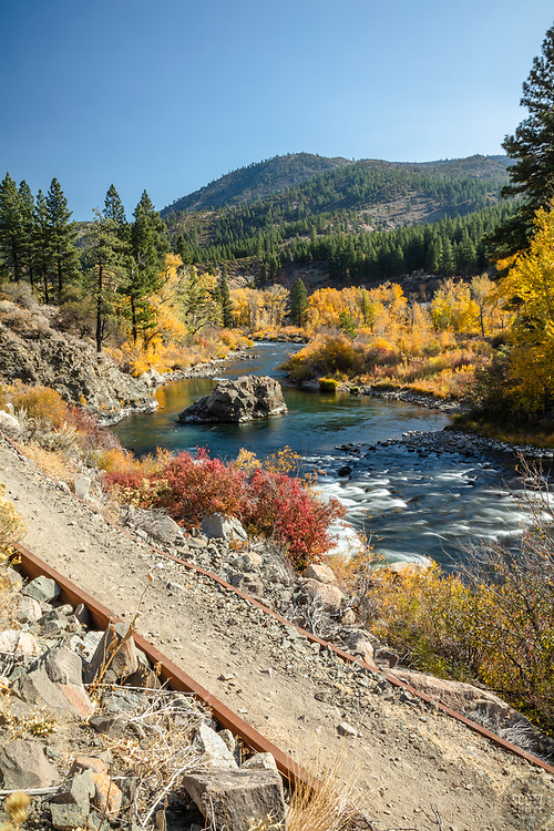 """""""Truckee River in Autumn 29"""" - Photograph of the Truckee River and the Tahoe-Pyramid Trail in the fall, shot off of Hwy 80, in California, just west of Nevada."""