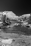 The view along the John Muir Trail at Marie Lake with Selden Pass in the background; John Muir Wilderness, Sierra National Forest, Sierra Nevada Mountains, California, USA.