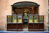 Old style 18th century jewelry shop front , Lucca, Tunscany, Italy If you prefer to buy from our ALAMY PHOTO LIBRARY  Collection visit : https://www.alamy.com/portfolio/paul-williams-funkystock/lucca.html .