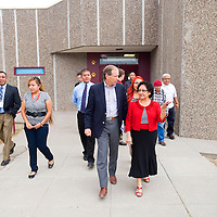 101112       Brian Leddy<br /> Sen. Tom Udall walk with Tohatchi High School principal Ethel Manuelito Thursday. The school received federal money for to upgrade technology resources as well as infrastructure improvements.