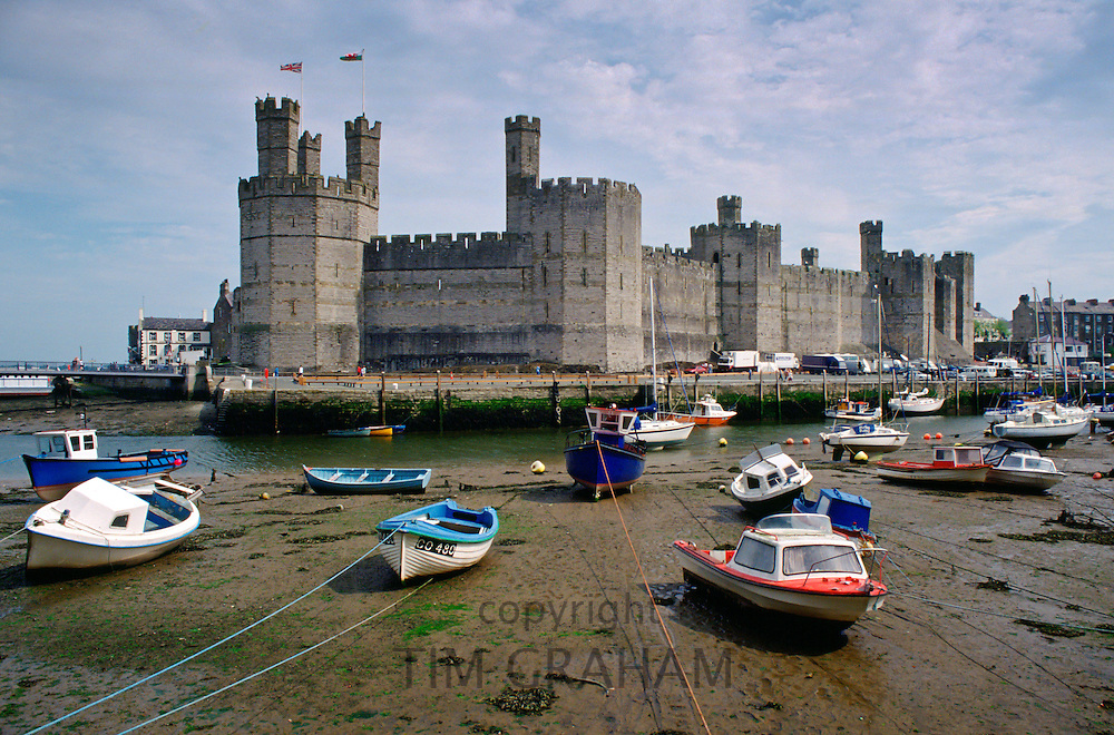 Boats moored near Caernarfon Castle, Wales