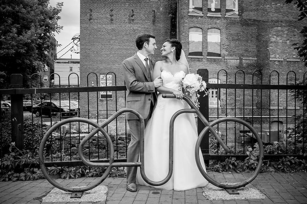 A bride and groom in Brattleboro, VT.