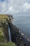 Mealt Falls looking out to Kilt Rock on the 3rd September 2016 on the Isle of Skye in Scotland in the United Kingdom.