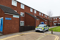 The scene at Knights Close in Hackney where police were called to a domestic incident where a man was said to be making threats with a knife and was subsequently shot, sustaining life-threatening injuries, whilst one police officer suffered a knife wound. London, March 20 2019.