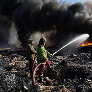 Oil wells on fire - Iraq