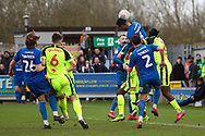 AFC Wimbledon defender Terell Thomas (6) winning header in the box during the EFL Sky Bet League 1 match between AFC Wimbledon and Bolton Wanderers at the Cherry Red Records Stadium, Kingston, England on 7 March 2020.