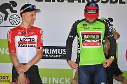 August 19, 2018 - Geraardsbergen, BELGIUM - Belgian Tim Wellens of Lotto Soudal and Slovenian Matej Mohoric of Bahrain-Merida , winner of the Binckbank Tour on the podium of the final stage of the Binkcbank Tour cycling race, 209,5 km from Lacs de l'Eau d'Heure to Geraardsbergen, Belgium, Sunday 19 August 2018. BELGA PHOTO DAVID STOCKMAN (Credit Image: © David Stockman/Belga via ZUMA Press)