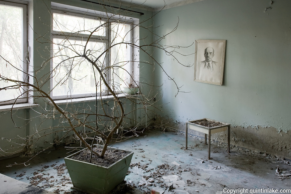 Drawing of Lenin with dead house plant in the hospital.