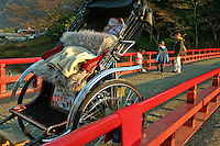 Rickshaw & Red bridge over the Hayakawa River in Fuji Hakone National Park or 'Hakone' as it is usually called. Hakone is the home of Mt Fuji, hundreds of hot springs and a popular weekend visit for Tokyo residents. Rickshaws such as these have also become popular in tourist destinations, mostly for a photo op rather than actual transportation.