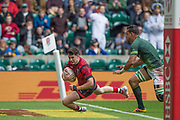 """Twickenham, Surrey United Kingdom. Wales, Owen JENKINS, touching down during the Pool A game at the """"2017 HSBC London Rugby Sevens"""",  Saturday 20/05/2017 RFU. Twickenham Stadium, England    <br /> <br /> [Mandatory Credit Peter SPURRIER/Intersport Images]"""