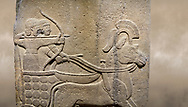 Photo of Hittite relief sculpted orthostat stone panel of Long Wall. Close up of Chariot. Karkamıs, (Kargamıs), Carchemish (Karkemish). Anatolian Civilisations Museum. .<br />  <br /> If you prefer to buy from our ALAMY STOCK LIBRARY page at https://www.alamy.com/portfolio/paul-williams-funkystock/hittite-art-antiquities.html  - Type  Karkamıs in LOWER SEARCH WITHIN GALLERY box. Refine search by adding background colour, place, museum etc.<br /> <br /> Visit our HITTITE PHOTO COLLECTIONS for more photos to download or buy as wall art prints https://funkystock.photoshelter.com/gallery-collection/The-Hittites-Art-Artefacts-Antiquities-Historic-Sites-Pictures-Images-of/C0000NUBSMhSc3Oo