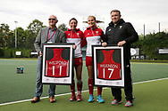 Abi Welsford (2nd left) & Leah Wilkinson of Wales become two of the most capped Welsh international women's hockey players and are presented with an award ahead of the game. Belarus v Wales, EuroHockey 11 Women's championshp 2017 in Cardiff, South Wales , Wednesday 9th August 2017<br /> pic by Andrew Orchard