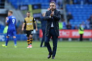 Carlos Carvalhal, the manager of Sheffield Wednesday applauds the Sheff Wed fans at the end of the game. EFL Skybet championship match, Cardiff city v Sheffield Wednesday at the Cardiff City Stadium in Cardiff, South Wales on Saturday 16th September 2017.<br /> pic by Andrew Orchard, Andrew Orchard sports photography.