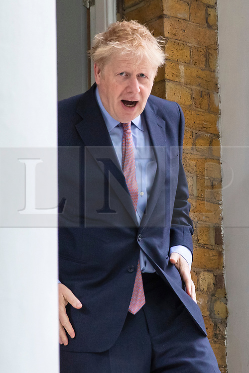 © Licensed to London News Pictures. 17/06/2019. London, UK. Boris Johnson MP, who is the frontrunner to become the next Leader of the Conservative Party and Prime Minister, leaves home. A second round of voting on the new leader will take place tomorrow. Photo credit: Rob Pinney/LNP