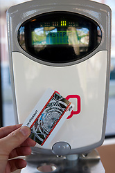 New contactless electronic Chipkaart ticket and ticket machine on pubic tram in The Hague, The Netherlands