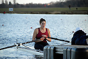 Eton, GREAT BRITAIN,  Elizabeth COTTRELL, W1X, waits at the Start, GB Trials 3rd Winter assessment at,  Eton Rowing Centre, venue for the 2012 Olympic Rowing Regatta, Trials cut short due to weather conditions forecast for the second day Sunday  13/02/2011   [Photo, Karon Phillips/Intersport-images]