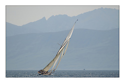 The Lady Anne, a 15 metre (95') Gaff Cutter built in 1912 sails gracefully towards Arran...This the largest gathering of classic yachts designed by William Fife returned to their birth place on the Clyde to participate in the 2nd Fife Regatta. 22 Yachts from around the world participated in the event which honoured the skills of Yacht Designer Wm Fife, and his yard in Fairlie, Scotland...FAO Picture Desk..Marc Turner / PFM Pictures