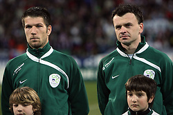 Bostjan Cesar and Suad FIlekovic of Slovenia at the 8th day qualification game of 2010 FIFA WORLD CUP SOUTH AFRICA in Group 3 between Slovenia and Czech Republic at Stadion Ljudski vrt, on March 28, 2008, in Maribor, Slovenia. Slovenia vs Czech Republic 0 : 0. (Photo by Vid Ponikvar / Sportida)