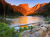 """""""Dream Lake Sunrise"""" - Colorado<br /> <br /> Equipment: Canon 5D and 24-70mm lens<br /> <br /> Misc This is a 5 image stitched photo that was photographed by using split neutral density filters to control the bright light relative to the darker foreground. It was photographed in 2008 at Rocky Mountain National Park."""