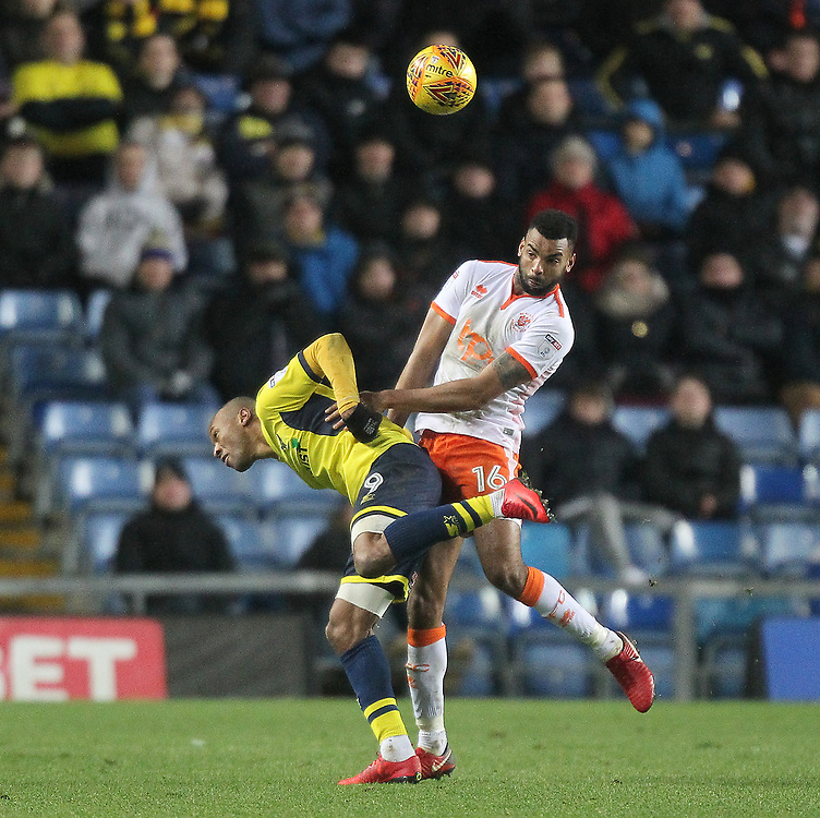 Blackpool's Curtis Tilt in action with Oxford United's Wes Thomas<br /> <br /> Photographer Mick Walker/CameraSport<br /> <br /> The EFL Sky Bet League One - Rochdale v Blackpool - Monday 1st January 2018 - Spotland Stadium - Rochdale<br /> <br /> World Copyright © 2018 CameraSport. All rights reserved. 43 Linden Ave. Countesthorpe. Leicester. England. LE8 5PG - Tel: +44 (0) 116 277 4147 - admin@camerasport.com - www.camerasport.com
