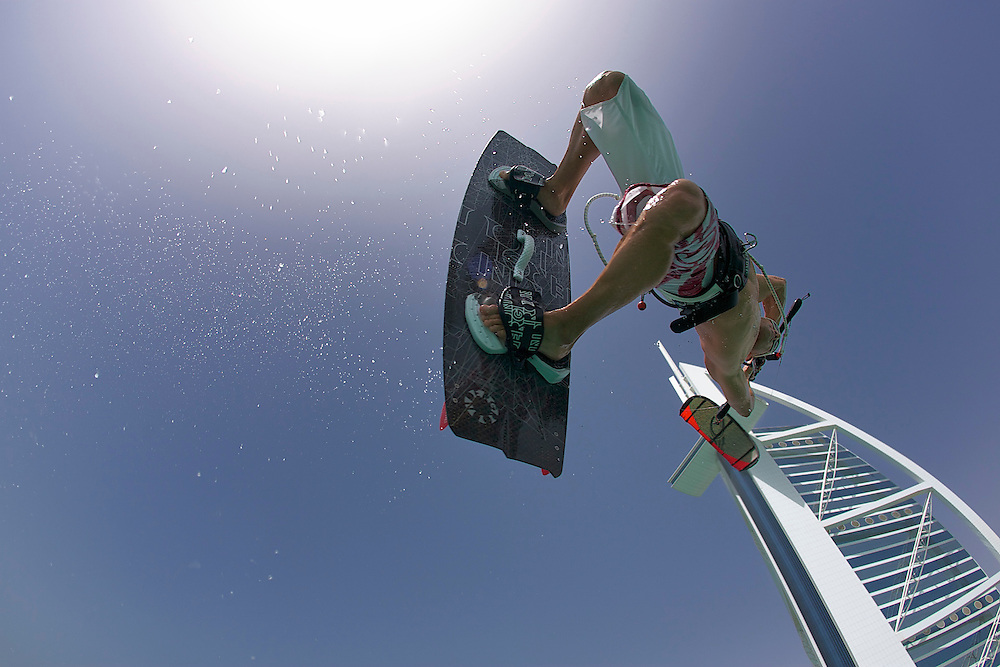 Will Lee taking the Burj Al Arab by storm.  The board is Underground and the kite is Cabrinha.  Temperature 42 degrees celsius and the water temperature 32 degrees celsius.