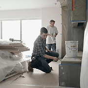Jonathan Scott and a local contractor are filmed during a production day for the HGTV show, Brother vs Brother, Wednesday, February 15, 2017 in Galveston, Texas. Season five of the show which features The Property Brothers, Jonathan and Drew Scott, airs later this year.<br /> <br /> Todd Spoth for The New York Times.