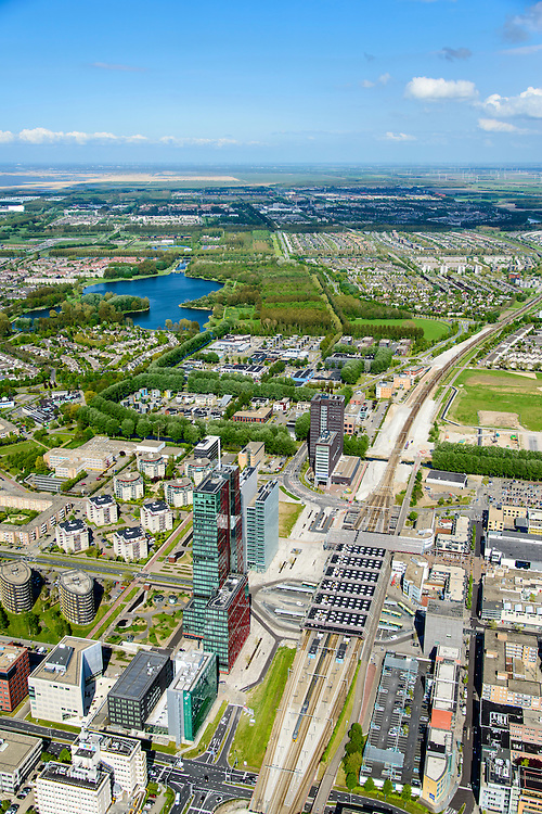 Nederland, Flevoland, Almere, 07-05-2015;  Stadshart Amere, Stationsgebied met naast het station RABO-bank.<br /> City entre of the new town Almere.<br /> luchtfoto (toeslag op standard tarieven);<br /> aerial photo (additional fee required);<br /> copyright foto/photo Siebe Swart